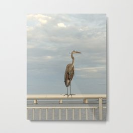 Crane on Railing Metal Print