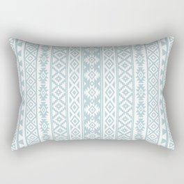 Aztec Stylized Pattern Duck Egg Blue & White Rectangular Pillow