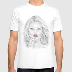 Kate Moss MEDIUM White Mens Fitted Tee