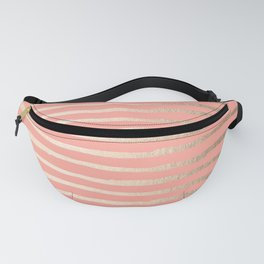 Abstract Stripes Gold Coral Pink Fanny Pack
