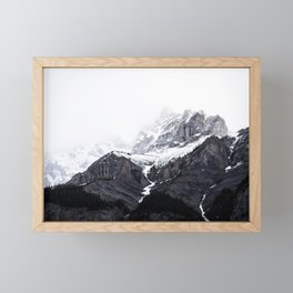 Moody snow capped Mountain Peaks - Nature Photography Framed Mini Art Print