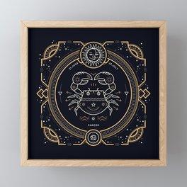 Cancer Zodiac Gold White with Black Background Framed Mini Art Print