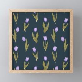 Violet Tulips Floral Pattern (navy/teal theme) Framed Mini Art Print