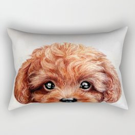Toy poodle red brown Dog illustration original painting print Rectangular Pillow
