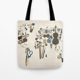 Musical Instruments Map of the World Tote Bag