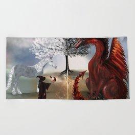 The Owl,Wizard,Unicorn and the Dragon Beach Towel