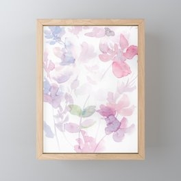 Blooming blush and purple watrclolor Framed Mini Art Print
