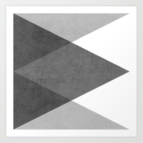 black and white triangles Art Print