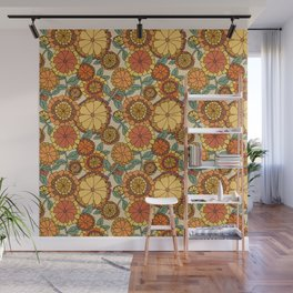 Groovy Marigold Floral Wall Mural