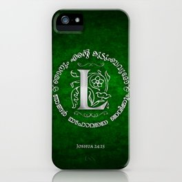 Joshua 24:15 - (Silver on Green) Monogram L iPhone Case