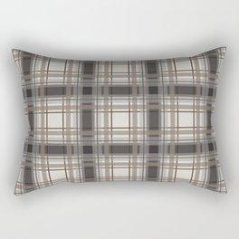 Brown Plaid with tan, cream and gray Rectangular Pillow