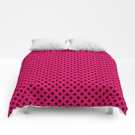Small Black Crosses on Hot Neon Pink Comforters