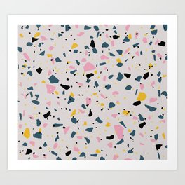 Terrazzo with grey, pink, yellow, and dark blue colours Art Print