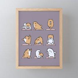 Pomeranian yoga Framed Mini Art Print