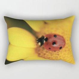 Ladybug on yellow flower - macro still life - fine art photo for interior design Rectangular Pillow