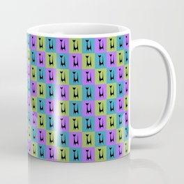 Mid Century Modern Retro Atomic Cats on Purple Green and Blue Coffee Mug