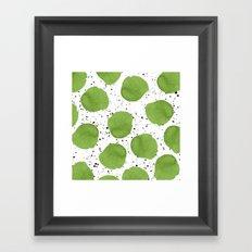 Modern green watercolor polka dots black brushstrokes greenery color of the year pattern Framed Art Print