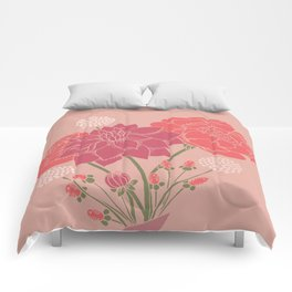 Pink Floral Bouquet in a Vase Comforters