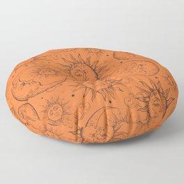 Orange Magic Celestial Sun Moon Stars Floor Pillow