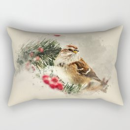 American Tree Sparrow Watercolor Art Rectangular Pillow