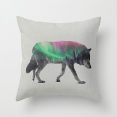 Wolf In The Aurora Borealis Throw Pillow