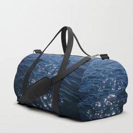 Sparkly Deep Blue Sea Waves Duffle Bag