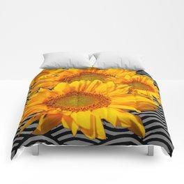 YELLOW SUNFLOWERS BLACK-GREY WAVE ART Comforters