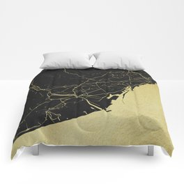 Barcelona Black and Gold Map Comforters