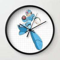 mega man Wall Clocks featuring Mega-Man by HypersVE