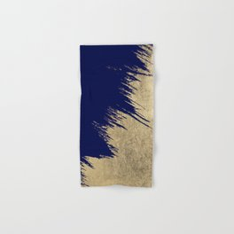 Navy blue abstract faux gold brushstrokes Hand & Bath Towel
