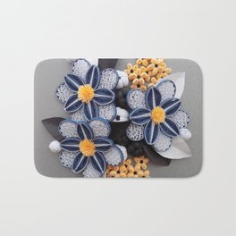 Blue Paper Quilled Flowers Floral Home Decoration Abstract Still Nature Art Bath Mat
