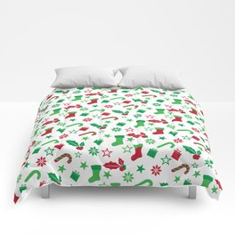 Red And Green Christmas Objects Decor Comforters