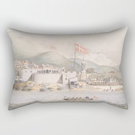 Vintage Pictorial View of Christiansted St Croix (1839) Rectangular Pillow