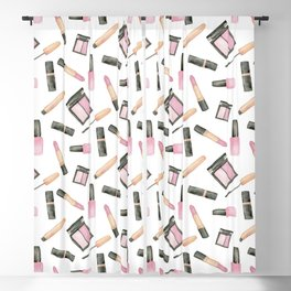 Watercolor beauty product pattern Blackout Curtain