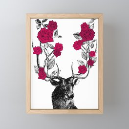 The Stag and Roses | Red Framed Mini Art Print