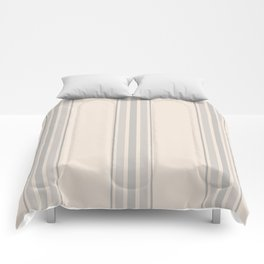 Simple Farmhouse Stripes in Gray on Beige Comforters