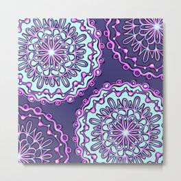 Neon Aqua Teal Purple Artsy Henna Boho Mandala Metal Print