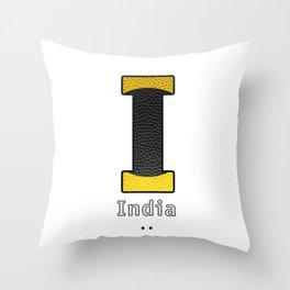 India - Navy Code Throw Pillow