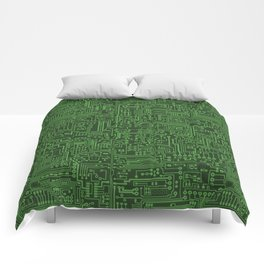 Circuit Board // Light on Dark Green Comforters