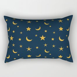 Yellow moon and star pattern on Navy blue background Rectangular Pillow