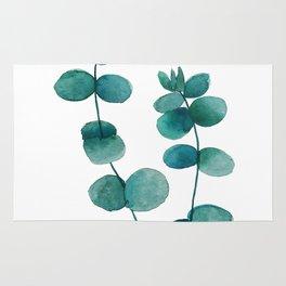 green eucalyptus watercolor Rug