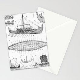 Vintage Viking Naval Ship History and Diagram Stationery Cards