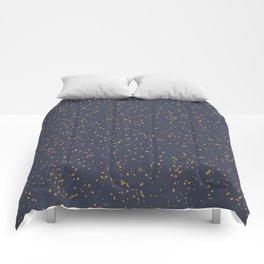 Speckles I: Dark Gold on Blue Vortex Comforters