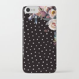 Boho Flowers and Polka Dots on Black iPhone Case