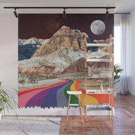 Trippy 1960s Stars and Moon Retro Red Rock Canyon Collage Milky Way Galaxy Colors Wall Mural