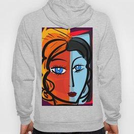 Red Blue Pop Girl Portrait Expressionist Art Hoody