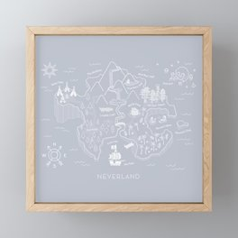 Neverland Map - Gray Framed Mini Art Print