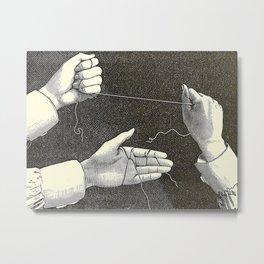 Curiosités physiologiques - Guyot-Daubès - 1885 Surrealism Hand Tie Nots Black And White Ink Illustr Metal Print
