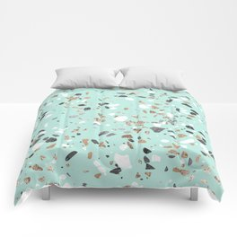 Glitter and Grit Marble Mint Green Comforters
