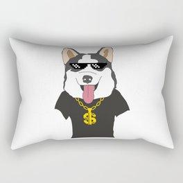 Siberian Husky Thug Life Mode Rectangular Pillow
